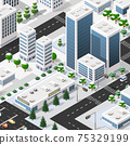 Isometric 3d street downtown architecture district part 75329199