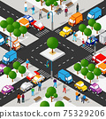 Isometric 3d street downtown architecture district part 75329206