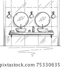 Bathroom sketch. Two washbasins, two round mirrors and other design elements. Vector 75330635