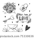 Set of romantic hand drawn elements. Different hearts, flowers and other different elements. Hand-drawn sketch vector 75330636