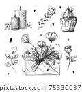 Set of romantic hand drawn elements. Different hearts, flowers and other different elements. Hand-drawn sketch vector 75330637