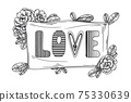 Stylized banner with the text LOVE. Flowers and branches around the inscription. Vector 75330639