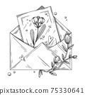 Envelope with postcard, flowers and hearts. Holiday package. Vector illustration 75330641