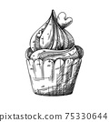 Sketch of a cupcake with cream and hearts decoration. Valentine's day cupcake. Vector 75330644