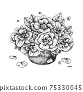 Flowers in a vase. Bouquet isolated on a white background. Vector illustration 75330645