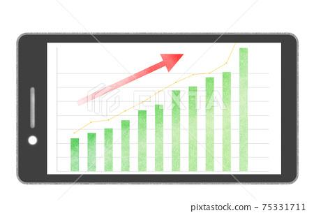 智能手機屏幕上升條形圖和折線圖綠色 75331711