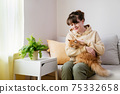 Young woman sitting on sofa with ginger cat 75332658