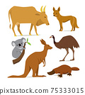 Big set of mammal animals of Australia in flat style 75333015