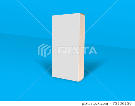White folding cartons isolated on blue color background. Paperboard boxes. Suitable for product packaging mock up 75336150