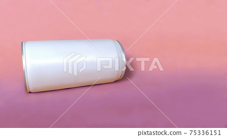 White sleek cans isolated on pastel pink color background. Suitable for drinks packaging mock up 75336151
