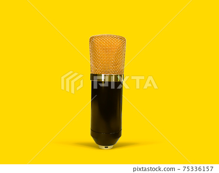 Gold condenser microphone isolated on yellow background 75336157