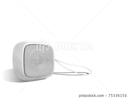Mini wireless speaker with lanyard isolated on white color background. Rounded square shape. 75336158