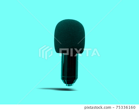 Floating Black Condenser Microphone with Foam Windshield isolated on Turquoise Background 75336160