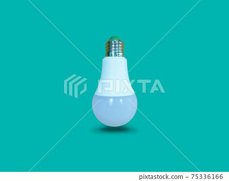 Floating white LED light bulb isolated on turquoise color background. 75336166