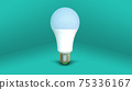 White LED light bulb isolated on turquoise color background.  Standing position. 75336167
