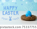 happy easter holiday banner painted egg bunny nest 75337755