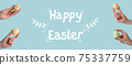 happy easter holiday greeting painted egg in hand 75337759
