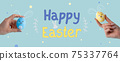 happy easter holiday background egg rabbit hand 75337764