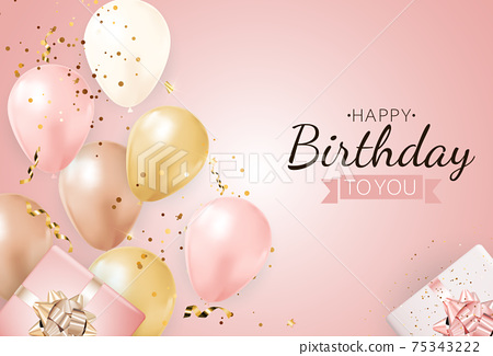 Happy Party Birthday Background with Realistic Balloons and Gift Box. Vector Illustration 75343222