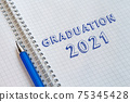 Graduation 2021. Lettering in a school notebook 75345428