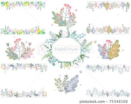 可愛的植物框架設置材料與時尚的花朵和葉子 75348108