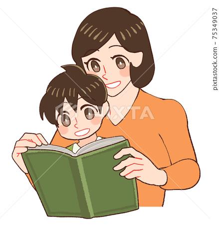 아이와 함께 책을 보는 가르치는 엄마 75349037