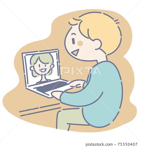 男人和女人在網上通話 75350407