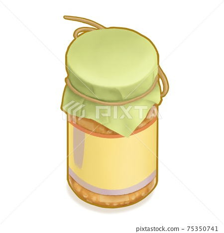 Fermented bean curd, a digital painting of glass jar package of yellow fermented tofu (bean cheese) vegetable food isometric cartoon icon raster 3D illustration on white background. 75350741