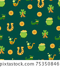 Saint Patrick s Day seamless pattern. Holiday Vector Illustration Background 75350846