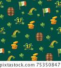 Saint Patrick s Day seamless pattern. Holiday Vector Illustration Background 75350847