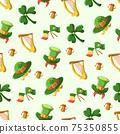 Saint Patrick s Day seamless pattern. Holiday Vector Illustration Background 75350855