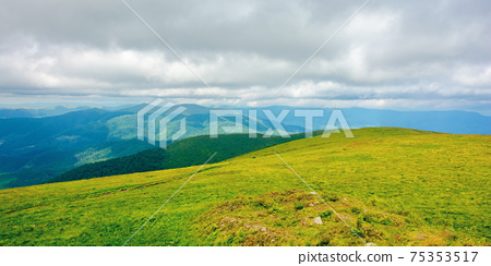 mountain landscape in summer on a cloudy day. grass covered hillside meadow. carpathian watershed ridge in the distance 75353517