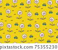 花和蝴蝶背景材料無縫模式 75355230