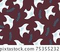 葉子和鳥兒的無縫背景圖案 75355232