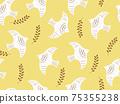 葉子和鳥兒的無縫背景圖案 75355238