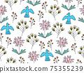 花鳥背景素材無縫圖案 75355239