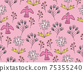 花鳥背景素材無縫圖案 75355240