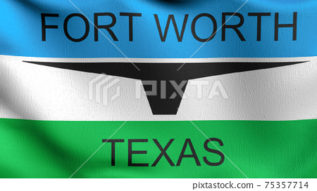 Fort Worth, Texas state flag in The United States of America, USA, blowing in the wind isolated. Official patriotic abstract design. 3D rendering illustration of waving sign symbol. 75357714