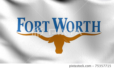 Fort Worth, Texas state flag in The United States of America, USA, blowing in the wind isolated. Official patriotic abstract design. 3D rendering illustration of waving sign symbol. 75357715
