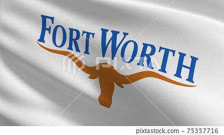 Fort Worth, Texas state flag in The United States of America, USA, blowing in the wind isolated. Official patriotic abstract design. 3D rendering illustration of waving sign symbol. 75357716