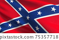 Flag of Dixieland or Confederate States Army in USA or The United States of America. 3D rendering illustration of waving sign symbol. 75357718