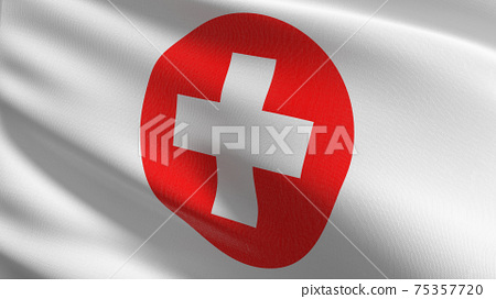 Flag of First aid medical icon sign symbol. 3D rendering illustration of waving. 75357720