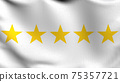 Flag of 5 or Five stars sign symbol. The best quality. 3D rendering illustration of waving sign symbol. 75357721