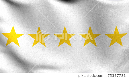 Flag of 5 or Five stars sign symbol. The best quality. 3D rendering illustration of waving sign symbol. 75357721