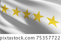 Flag of 5 or Five stars sign symbol. The best quality. 3D rendering illustration of waving sign symbol. 75357722
