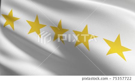Flag of 5 or Five stars sign symbol. The best quality. 3D rendering illustration of waving sign symbol. 75357722
