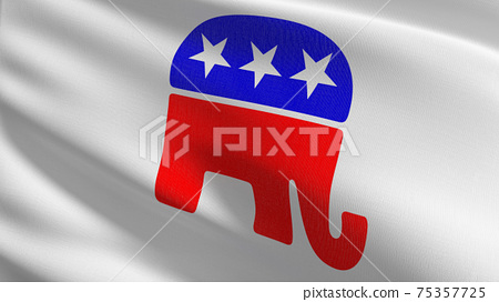 Flag of Republican party in USA or The United States of America. 3D rendering illustration of waving sign symbol. 75357725