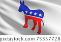 Flag of Democratic Party in USA or The United States of America. 3D rendering illustration of waving sign symbol. 75357728