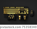 Top view of gamer workspace and gear like mouse, keyboard, joystick 75358340