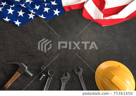 Labor Day, Set of mechanical tools with American flag 75361850